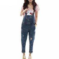 ingrosso jumpsuits in stile coreano-Moda donna donna stile coreano lavato tuta casual tuta pagliaccetto sottile jeans jeans pagliaccetti