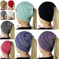 Wholesale Green Ponytail - 10 Colors CC Label Women Woolen Hats Trendy Soft Cap Warm Autumn Winter Ponytail Beanies Hats Casual Fashion Solid Knitted Hat