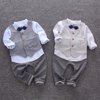 Wholesale Tie Blue Shirt Baby - Infants outfits Baby boys stripe bow tie lapel shirts+double pockets waistcoats+pure color pants 3pcs Autumn sets Toddler kids Clothes C1655