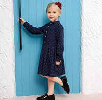 Wholesale Navy Dress Tutu Girl - Retail 2016 Autumn New England Style Girl Dresses Little Polka Dot Navy Long Sleeve Princess Dress Children Clothing 3-10T 1004