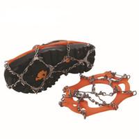 crampones de cadena al por mayor-12 Dientes Garras Crampones antideslizantes Zapatos Cubierta Cadena de acero inoxidable Al aire libre Esquí Hielo Nieve Senderismo Escalada Pinzas SC056