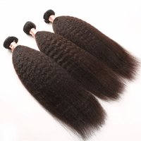 Wholesale Kinky Straight Hair For Weaving - 3 Pieces lot Afro Kinky Straight Hair Extension Weaving for Black Women Brazilian Weave Italian Coarse Light Yaki 100g pcs G-EASY Hair