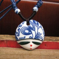 Wholesale Hand Painted Jingdezhen Porcelain - Jingdezhen ceramic jewelry wholesale jewelry pendant folk style hand-painted beauty on his face.