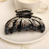 Wholesale Big Hair Clamps - 40% Off Hot Clamps full Crytals and Diamond Bling Bling Japanese Korean Style Big Hair Claws Discount wedding Jewelry Wedding Christmas Gift