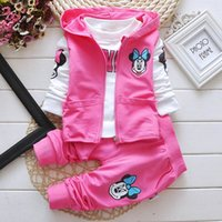 Wholesale Baby Clothes Tshirts - 2016 Autumn New Cartoon Mini Mouse Girl Three Sets Waistcoat+Tshirts+Pants Baby Clothing 1-4T 8003