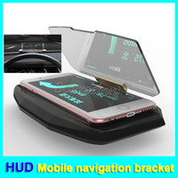 Wholesale Heading Navigation - Universal Car HUD Head Up Display Mobile Navigation Bracket For Mobile phone Mounts GPS Glass Reflector Car Holder Unblock the Eyesight