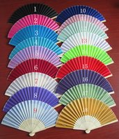 Wholesale Solid Color Fans - Wedding Favors Gifts Elegant Solid Candy Color Silk Bamboo Fan Cloth Wedding Hand Folding Fans wa3907
