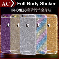 Glitter Shiny Full Body Sticker para iPhone 5 5S SE 6 6S Plus Galaxy S6 S7 Edge Front + Back + Sides Bling Skin Decal Matte Screen Protector