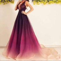 Wholesale Silver Dress Small Train - Hot Sale Ombre Prom Dresses with Sexy Deep V Neck and Small Train Chiffon Long Prom Gowns with Sleeveless Custom Made