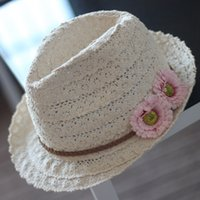 Wholesale Travel Straw Hats For Women - Floral Summer Straw hat Sun hat Travel Beach Cap For Women 5pcs lot Free Shipping
