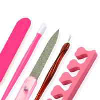 Wholesale Cuticle Nail Clippers Wholesale - Wholesale- 5pcs Nail Art Tools Remover Clipper Cuticle Pushers Nail File Finger Toe Separator Manicure Pedicure Tools Nail Care Tools LA321