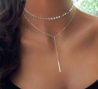 boho silver necklaces großhandel-Fashion Boho Coin Choker Layered von 2 Halskette Set Y Lariat Silber Gold Bar Anhänger Halskette Freundin Geschenk Halsband