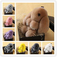 Wholesale Toy Car Backpack - 2016 New Hot Rex Rabbit Key chain 9 Colors Fur Car Backpack Rabbit Doll Pendant Cute Fashion Toys Wallet Handbag Pendant