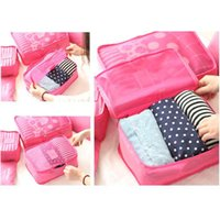 Unisex blue cube storage - 6Pcs Waterproof Travel Storage Bag Clothes Packing Cube Luggage Organizer Pouch