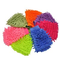 Wholesale Wholesale Car Wash Supplies - Single side Soft Cleaning Towel High density Coral Washing Gloves chenille Cleaning gloves Car washing supplies IA699