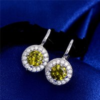 Wholesale Olive Platinum - Wholesale-1pair Olive Green pendientes brincos Brilliant Jewelry Gift CZ Zircon Crystal Platinum Plated Hoop Earring For Women Wedding