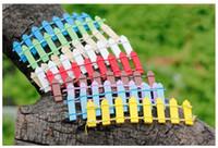 Wholesale Wholesale Miniature Wood House - Multicolor Wood Fence Palisade Miniature Fairy Garden Home Houses Decoration Mini Craft Micro Landscaping Decor DIY Accessories c189