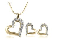 Wholesale Wholesale Sexy Necklace Earrings - Peach Heart Necklace Earrings Jewelry Sets Sexy Fashion Women Jewelry Set 18K Alloy Heart Jewelry Set 732