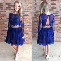 Wholesale Sexy Girls Photos Hottest - Royal Blue Hottest Two Pieces Homecoming Dresses Sheer Lace Long Sleeves Jewel Neck Knee Length Cocktail Graduation Gowns For Girls