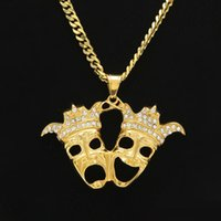 Wholesale laugh necklace - Stainless Steel Gold Plated Clown Pendant Necklace Double Crown Head Laughing and Crying Charm Fashion Gift Movie Jewelry
