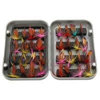 Wholesale Fly Lures Trout - 2015 new 32pcs sets fly fishing lure set Artificial Insect bait trout fly fishing hooks tackle with case box
