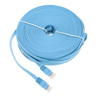 Wholesale Ethernet Lan Network Cable - High Quality Blue High Speed Cat6 Ethernet Noolde Flat Cable 20m 30m Ultra Thin Design RJ45 Computer LAN Internet Network Cord