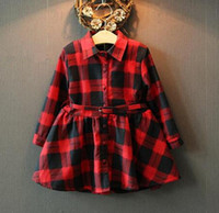 Wholesale Thickening Plaid Shirt - New Arrival Winter Girl's Dresses Kids Long Shirt Dress Children's Winter Thickening Warm Dress With Belt