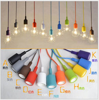 Wholesale Spare Parts Led Lighting - 80CM Woven Cables,110V 220V,E27 Led Colorful Silicone Pendant Lights Lamp Spare Parts Lamp Socket Holders without Bulbs Pendant Lighting