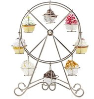 8 Cup Metal Rotating Ferris Wheel Cupcake et Dessert Stand Holder Chrome Finish Cake Holder Décoration Affichage Party Tools