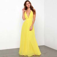 Wholesale Yellow Casual Backless Dress - 2016 Spaghetti Strap Chiffon Dress Backless Sexy Boho Beach Bohemian dress Free Shipping