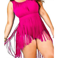Wholesale Womens 5xl Swimsuit - 2016 New Sexy Womens Fringed High Neck Waist Plus Size Bathing Suit Brazilian Monokini Swimsuits Swimwear One Piece Bodysuit 5XL
