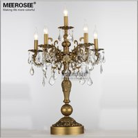 Wholesale Crystal Table Lamp Vintage - French Vintage Crystal Table lamp Luxury Bronze Color Desk lighting fixture E14 bulbs for Living room Bedroom Hotel table light