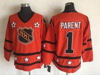 Wholesale Parent Jersey - Top Quality ! Cheap 1975 All Star Jerseys #1 Bernie Parent Jerseys Orange CCM Throwback Ice Hockey Jerseys Stitched Name Number Logos