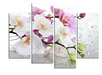 Wholesale Canvas Wall Art Ideas - 4 Panels white flowers plant art Wall painting print on canvas for home decor ideas paints on wall pictures framed