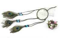 Wholesale peacock wall hangings - Peacock Feather Dream Catcher Turquoise Handmade Beaded Wind Chimes Pendant Wall Hanging Decoration Ornament Gift B951L