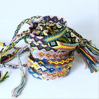 Wholesale bracelet knit - Fashion Vintage Style Random Colors CM Width Nepal Ethnic Cotton Thread Knitted Unisex Friendship Bracelet Summer Bracelets B012