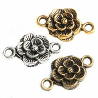 Wholesale Antique Bronze Connector Charms - 30pcs Vintage Antique Silver Bronze Flower Shaped Connectors Charms For DIY Jewelry Making Bracelets