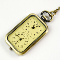 Montre Fuseau Horaire Pas Cher-Dual Movement Time Zone Pocket Watch Bronze Square Fob Montre Quartz Montre Colliers femme valentine Noël Cadeau BY DHL 230235