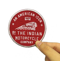 Wholesale genuine patch leather - Old Indian Motorcycle American Icon 1901 Genuine Leather Patch Embroidered Patches Free Shipping