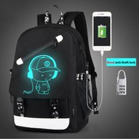 Wholesale Character Usb - 2017 New Night light Casual Unisex Backpack Fashion 15.6 Inch USB Charge Luminous Laptop Backpack Teenagers Unisex Team Cartoon School Bag