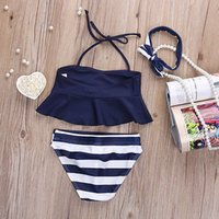Wholesale 24 Month Swimwear Girls - Girl's three-piece bikini Swimwear Infants Girls Swimsuit Ruffle boob tube top+bowknot Headband+trunks Princess kids cute swimwear set