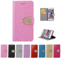 Wholesale Galaxy S4 Luxury Wallet Gold - Luxury Leather Wallet case with Card Slot glitter diamond Flip Cover For iPhone 7 SE 5 5S 6 6S Plus Galaxy S4 S5 S6 Edge S7 Note 7