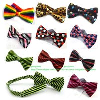 Wholesale Pre Tied Bows Wholesale - Mens Bowtie Bow Ties Pre-tied Adjustable Stripe Print Neck Bow Tie Fashion Accessories Free Shipping MOQ : 10 pcs
