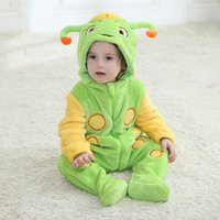 Wholesale Sugaring Warmer - Newborn Caterpillar Rompers Sugar Treasure Rompers Children Climb Clothes Baby Boy Warm Infant Romper 70CM-100CM