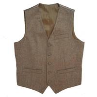 vêtements de marié vintage achat en gros de-Tweed Vintage Rustique De Mariage Vest Marron Gilet Hommes D'été Hiver Slim fit Groom's Wear Hommes Robe Gilets Plus La Taille 6XL