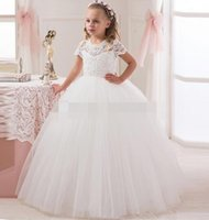 Wholesale Transparent Shorts Girls - 2016 New Collection Flower Girl Lace Dress Short Sleeve Ball White Birthday Girl Dress Tulle Kids Transparent Button Back