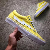 Wholesale flame fabrics - 2017 new Revenge X Storm Old Skool Skateboarding Shoes Flame 2017 Yellow Kanye West new Mens Womens Fashion Casual skate shoes