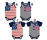 Wholesale Cdm Wholesalers - Newborn Rompers Baby Boys American Flag Bodysuits Wholesale Baby Kids clothes Children clothing CDM 001