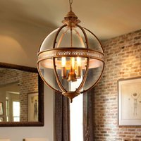 Wholesale Wrought Iron Glass Light - Creative personality vintage chandelier Restaurant Bar Cafe American living room pendant light wrought iron glass lampshade pendant lamp
