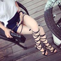 kahverengi seksi kadın çizmeler toptan satış-Gladyatör Sandalet Kadın diz yüksek sandalet botas femininas Kadınlar Sandal Ayakkabı Kadın ayakkabı seksi uzun çizmeler Siyah kahverengi